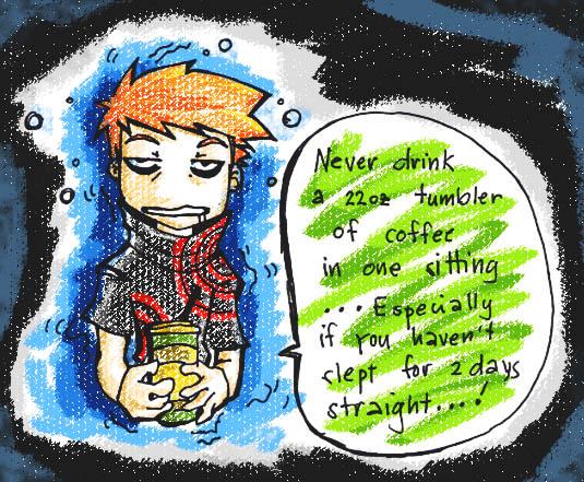 cartoon of guy drinking coffee