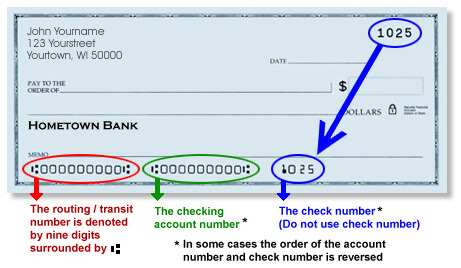 eCheck with routing number and checking account number circled.